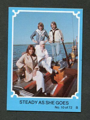 "Scanlens Gum 1976 ""abba - #10 Steady As She Goes"" Blue Trade Card"