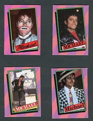 "4 O-Pee-Chee Gum 1984 ""michael Jackson - #1, 2, 4, & 19"" Trade Cards"