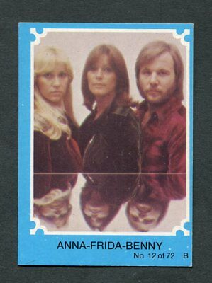 "Scanlens Gum 1976 ""abba - #12 Anna-Frida-Benny"" Blue Trade Card"