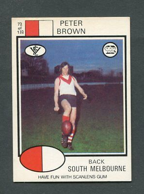 "Scanlens Gum 1975 ""rugby League - #72 Peter Brown (S Melbourne)"" Rare Trade Card"