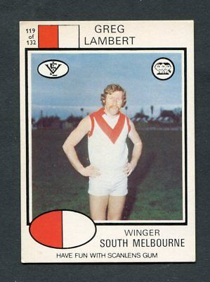 "Scanlens Gum 1975 ""rugby League - #119 Greg Lambert (Melbourne)"" Rare Trade Card"