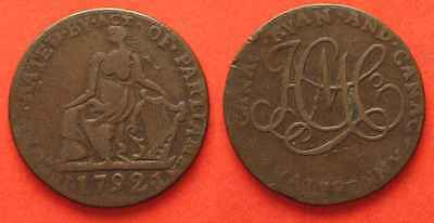 DUBLIN 1792 HIBERNIAN MINE Co Halfpenny IMITATION for AMERICA - RARE! # 87734
