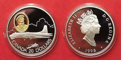 CANADA 20 $ 1998 CP-107 Argus AVIATION silver w. gold inlay Proof # 91962