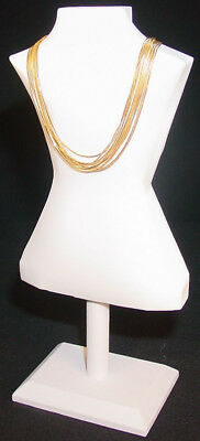 "14.5""h  White Leatherette Jewelry Display Bust Necklace Chain Pendants Ja54W1"