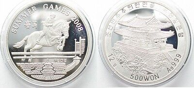 KOREA 500 Won 2007 Horse jumping OLYMPIC GAMES silver Proof SCARCE! # 95642