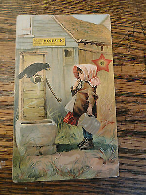 Old DOMESTIC Sewing Machine Tradecard - Girl w/Bonnet Getting Water From Well
