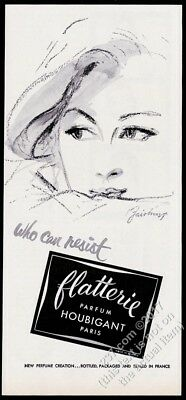 1955 Houbigant Flatterie perfume woman art Who Can Resist vintage print ad