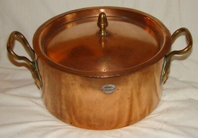 Antique French copper/brass ROUND MARMIT with LID 1890 hammered/dovetail/stamped