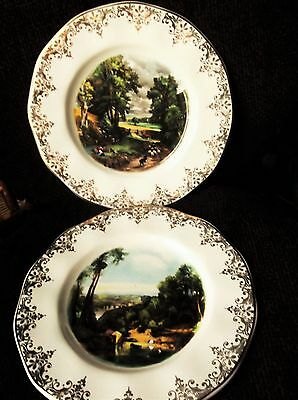 "Vintage Pair Of 10"" Gilded Display Plates Barratts Famous Paintings"