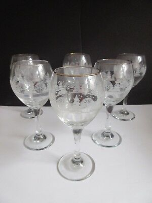 """6 ARBY'S CHRISTMAS WINTER WHITE FROSTED Wine Glasses Water Goblet 7 3/4"""""""