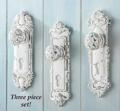 Door Knob Wall Hooks Antique 3 Piece Set Sculpted Painted Holding Home Decor