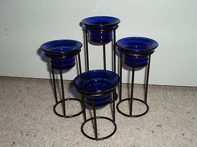 Partylite  4  Blue Cobalt Sapphire Tealight Candle Holders + Black Iron Holders