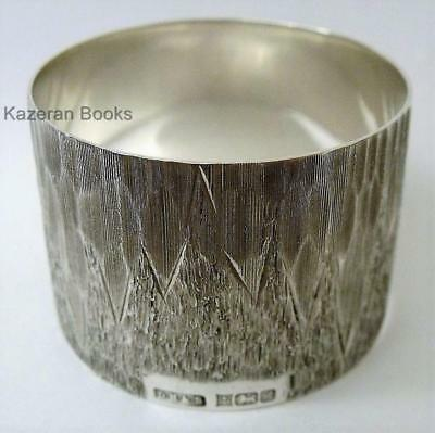 Vintage 1950 Solid Sterling Silver David Hollander Bark Ice Effect Napkin Ring