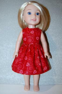 """Dress for 14.5"""" Wellie Wishers Doll Clothes by TKCT handmade Valentines Swirl"""