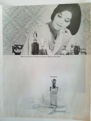 1964 Madame Rochas exception perfume bottle brunette lingerie ad