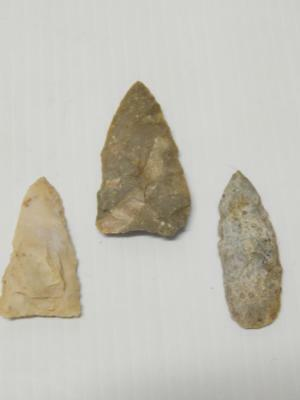 """Lot Of 3  Antique  Points Arrowhead Spear Texas Collection 2 1/8-2 5/8"""" - Nr !"""
