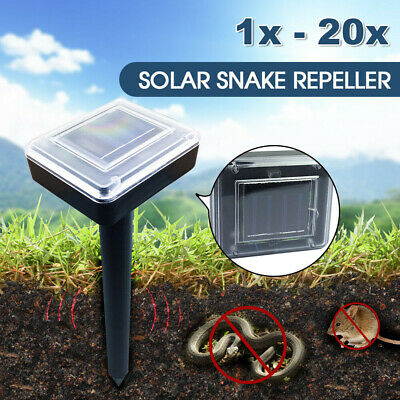 Solar Powered Snake Repeller Ultrasonic Mole Mice Pest Rodent Rat Repellent