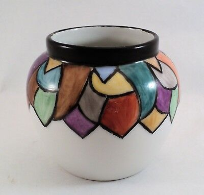 Vtg Art Deco Hand-Painted Czechoslovakian Pottery Vase Colorful Shapes -Estate