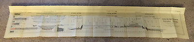 1912 Panama Canal Chart Diagram Showing Profile and Yardage Estimate of Canal