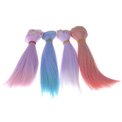 Colorful Straight Hair Wig Hairpiece for 1/3 1/4 BJD DZ LUTS Doll 15cm