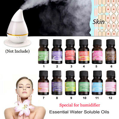 12 Scent 10ml Pure & Natural Fruit Plant Essential Oils Water Soluble Oil #es