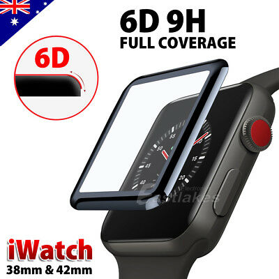 For Apple Watch 38 & 42 mm 6D Curved Tempered Glass FULL COVER Screen Protector