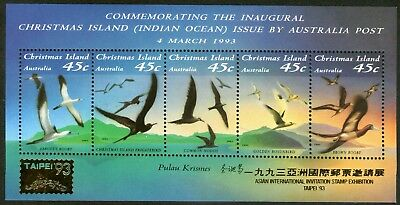 Christmas Island 1993 Birds Miniature Sheet Overprinted TAIPEI 93 Mint Unhinged