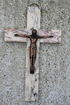 Stunning Large Art Deco Marble Wall Crucifix Cross Art Brass Jesus Christ