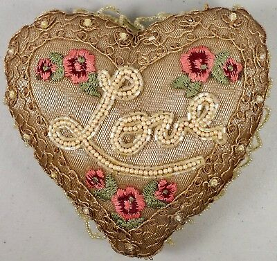 "Pretty Vintage Heart Shaped Pin Cushion W/ Script ""Love"" in Pearls & Pink Flower"