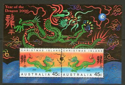 Christmas Island 2000 Year of the Dragon Miniature Sheet Mint Unhinged