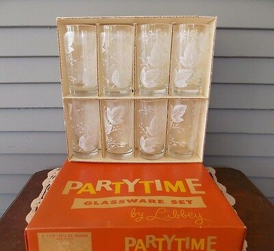 Set of 8 Libbey Partytime Glasses 12 ½ oz Tumblers #159 Clear Glass White Leaves