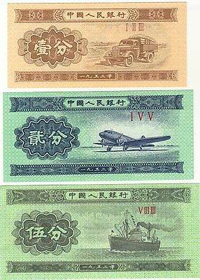 1953 1 2 & 5 Fen China Chinese Currency Unc Set Banknotes Notes Money Bills Lot