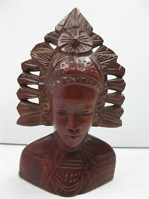 """Vintage Indonesian Carved Wood Figure Woman In Headdress Native Bali 6"""" Tall"""