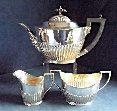 SUPERB Fluted ~ Mappin & Webb ~ SILVER Plated ~ Bulbous TEA SET ~ c1890