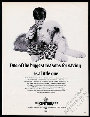 1972 Old English Sheepdog photo with boy Central Bank of Denver vintage print ad