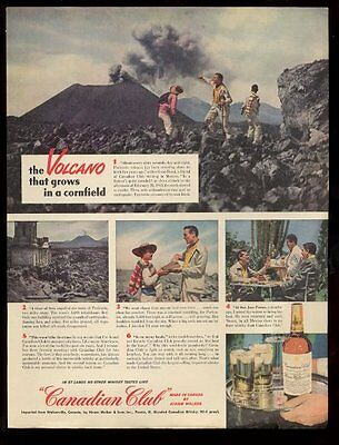 1948 Mexico Paricutin volcano erupting photos Canadian Club whisky print ad