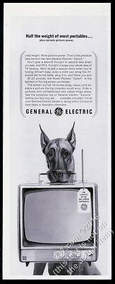 1963 Great Dane photo carrying TV set General Electric vintage print ad