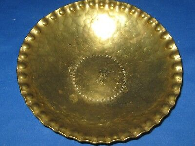 Antique German Handmade Solid Engraved Embossed Rim Brass Bowl Engraved