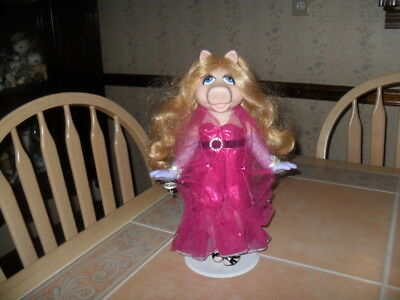"""Muppets MISS PIGGY 12"""" Porcelain Doll with Stand by The Brass Key Jim Henson"""