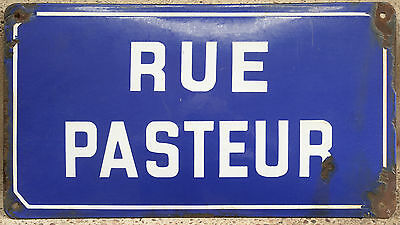 Old French blue white enamel steel street sign road plaque name Rue Pasteur