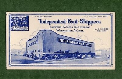"INDEPENDENT FRUIT SHIPPERS (Wenatchee WA) Ink Blotter - 3¼""x6⅛"", c1930, Exc Cond"