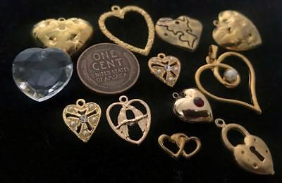 Vintage Gold Tone Metal Heart Charms Mix 12