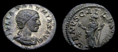 JULIA SOEMIAS mother of Elagabalus AR Denarius Struck 220-222 AD EF  5642