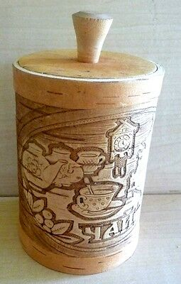 Rus Folk Art/Hand Crafted Siberian Birch Wood Intricately Designed Tea Container