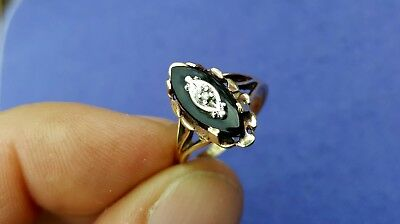 Old Vtg Antique Estate Jewelry Solid 10K Yellow Gold Onyx Diamond Ring Size 7.5
