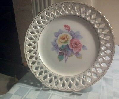 EUC Aiyo China Hand Painted Floral ROSE  RETICULATED PLATE- Occupied Japan