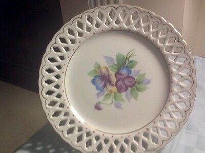 EUC Aiyo China Hand Painted Floral PANSIES RETICULATED PLATE- Occupied Japan