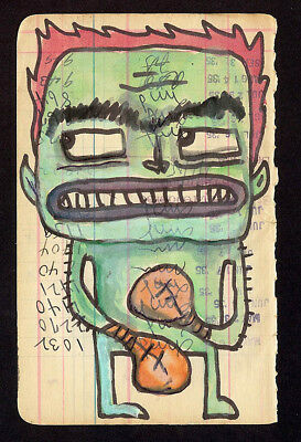GUS FINK art ORIGINAL painting antique outsider lowbrow book page MONSTER BOXER
