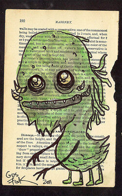 GUS FINK art ORIGINAL painting antique outsider lowbrow book page GREEN MONSTER