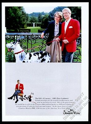 1983 harlequin Great Dane photo Countess Mara cashmere jacket vintage print ad